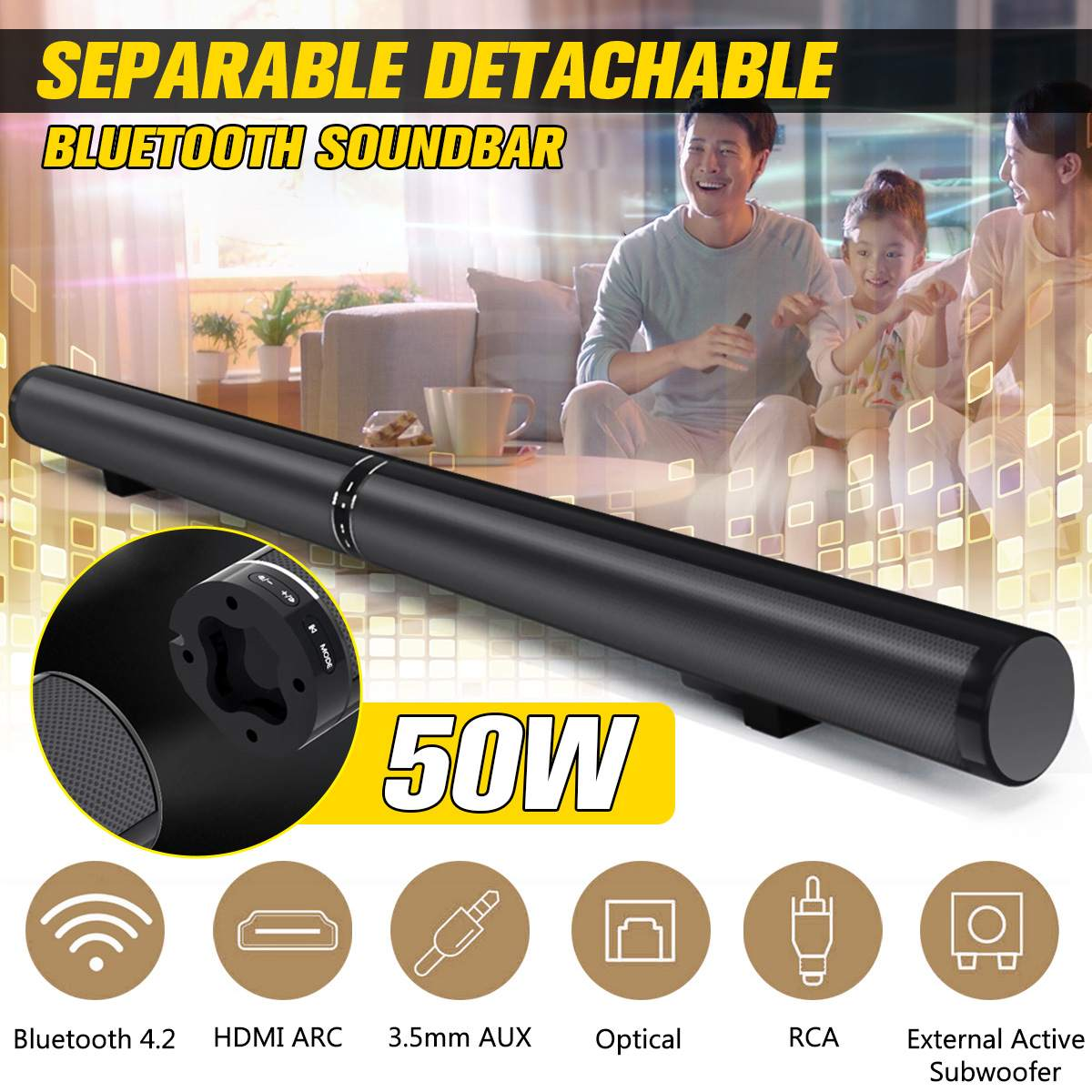 50W Detachable Wireless bluetooth Speaker Soundbar 3D Stereo Support RCA AUX HDMI Home Theatre Computer/PC Wall Bass Subwoofer