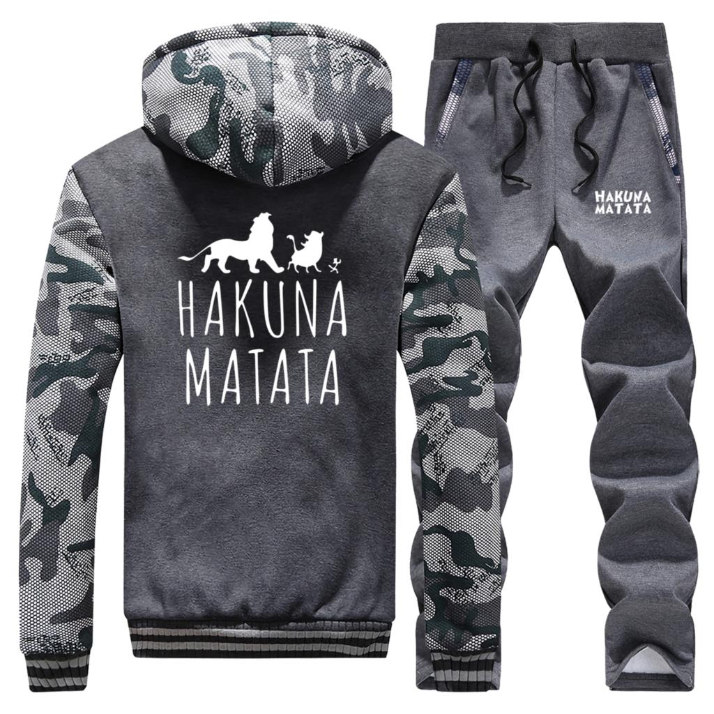 HAKUNA MATATA Winter Jacket+Pants 2 Piece Sets Letter Print Thick Fleece Sweatshirt Men's Cartoon Lion King Men Trousers Hoodies