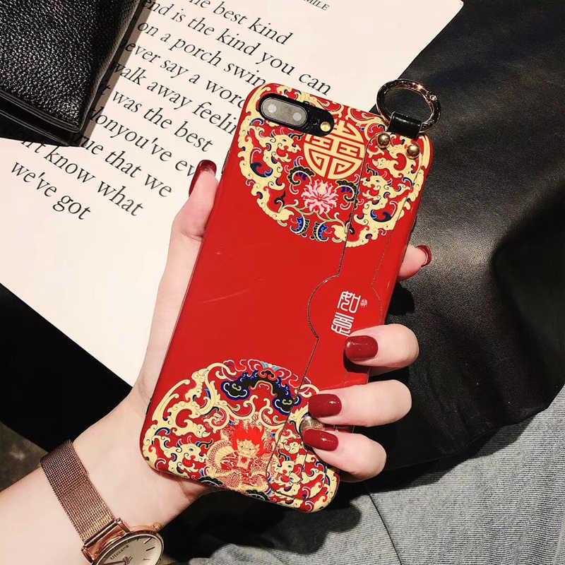В стиле ретро; в китайском стиле ремешок чехол для телефона для huawei P30 P30pro P20 P20pro Mate20 Mate20pro Nova5 мягкая ТПУ подставка держатель чехол