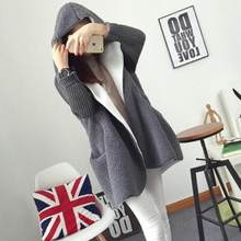 Autumn winter Blend New hooded coat Cardigan Sweater women's Solid color thick soft DC56(China)