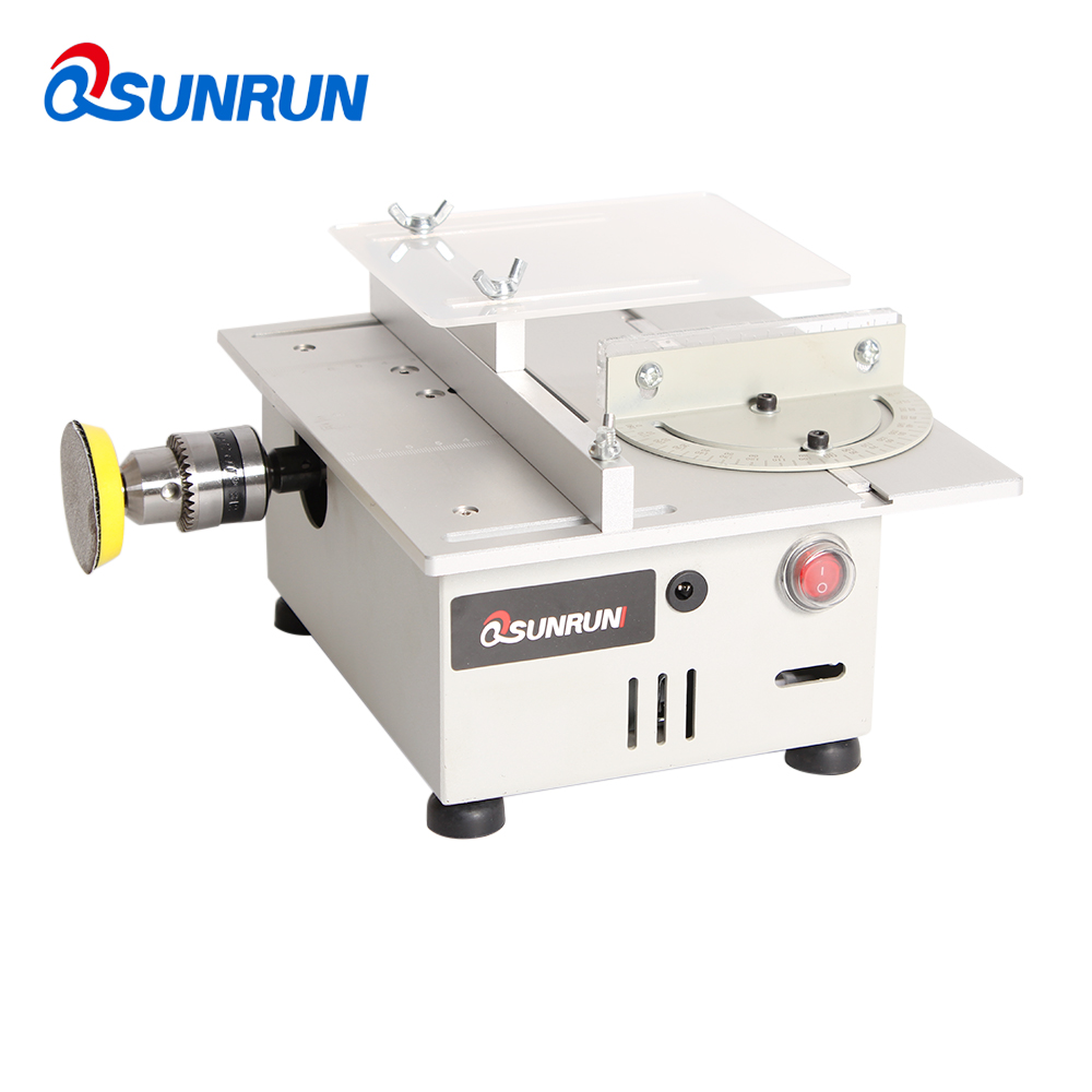 Tools : Multifunctional Mini Table Saw Handmade Woodworking Bench Lathe Electric Polisher Grinder DIY Model Cutting Saw B12 Drill Chuck