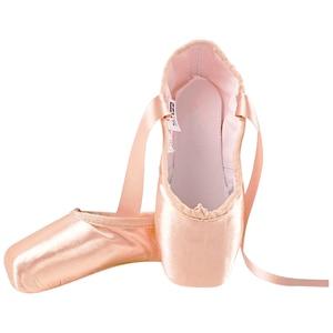 Image 2 - Neue Satin Ballett Tanz Pointe Toe Schuhe Pointe Silk Band Schuhe Toe Pad Mädchen Rosa Professionelle Ballett Schuhe Für Ballett