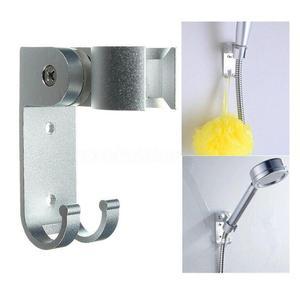 Adjustable Shower Head Holder Adhesive Wall Mounting Bracket 2 Hanger Hooks Aluminum Bathroom With Screw Sliver Bearing 50 Kg