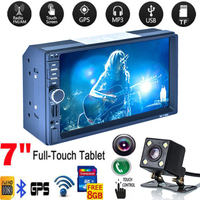 Car Vehicle MP5 2 Din MP5 7156G Car Radio Stereo with GPS Navigation Reverse Camera RDS 8G Map Card