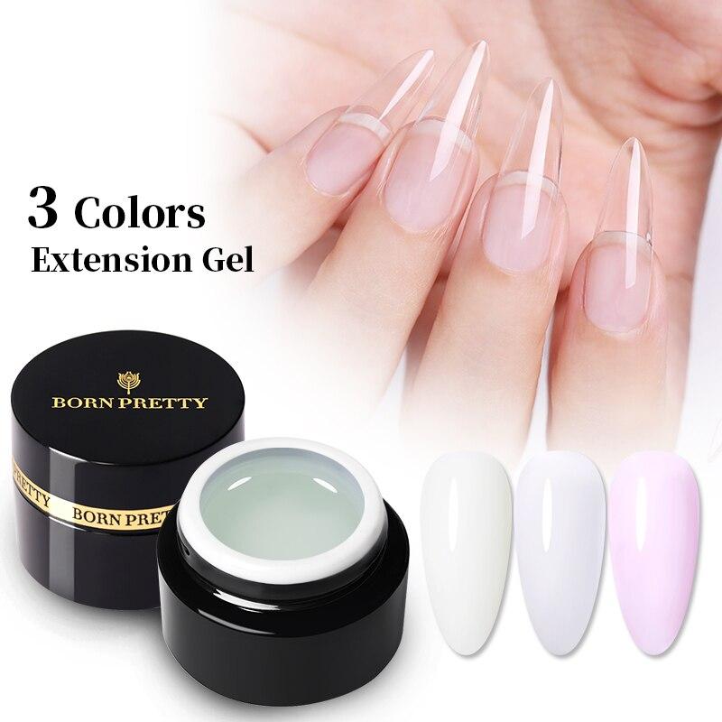 BORN PRETTY 5ml White Clear Extension Gel Nail Polish Gel Builder UV Gel Nail Extend Glue For Nail Tips Nail Art Gel Varnish