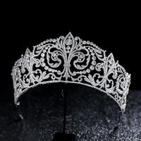 AAA Zircon Zirconia Tiaras and Crowns Silver Evening Dress Diadem Headpiece Women Party Bridal Hair Jewelry Wedding Accessories