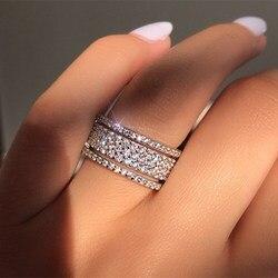 Çok katmanlı kübik zirkonya Shining yüzük tam kristal yapay elmas yüzük zarif kristal düğün nişan moda yüzük