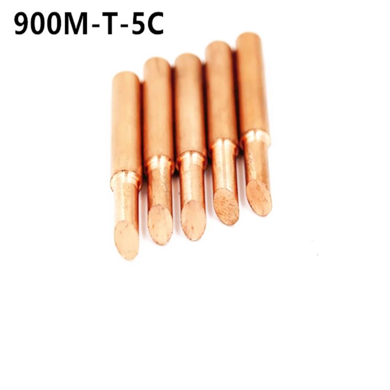 SZBFT 5piece 900M-T-5C Lead-free Red Copper Pure Cupper Solder Tip  For Hakko 936 FX-888D Saike 909D 852D+ 952D Diamagnetic DIY