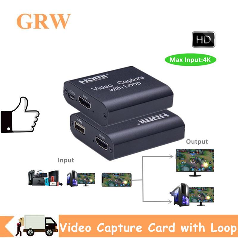New Coming Video card Mini Capture Video HDMI HD video capture card For PS4 Game DVD HD Camera Recording Live Streaming Loop Out 1