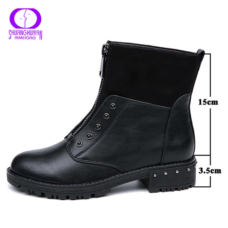 AIMEIGAO Rits Zwarte Enkellaarsjes Voor Vrouwen Warm Bont Pluche Binnenzool Vrouwen Laarzen Lage Hak Cool Stijl Herfst Vrouwen schoenen