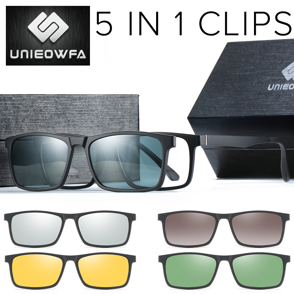 <font><b>5</b></font> <font><b>Lens</b></font> <font><b>Magnet</b></font> <font><b>Clip</b></font> On <font><b>Sunglasses</b></font> Men Polarized <font><b>Magnet</b></font> <font><b>Clip</b></font> On Glasses Male Prescription Optical Sun Glasses For Men Myopia TR90 image