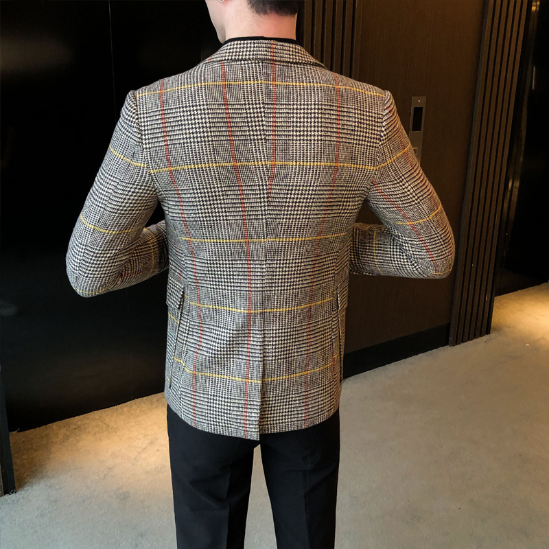 2020 Autumn Plaid Men Blazers Casual Slim Fit Suit Jacket Woolen Wedding Dress Coat Business Streetwear Social Costume Homme 3