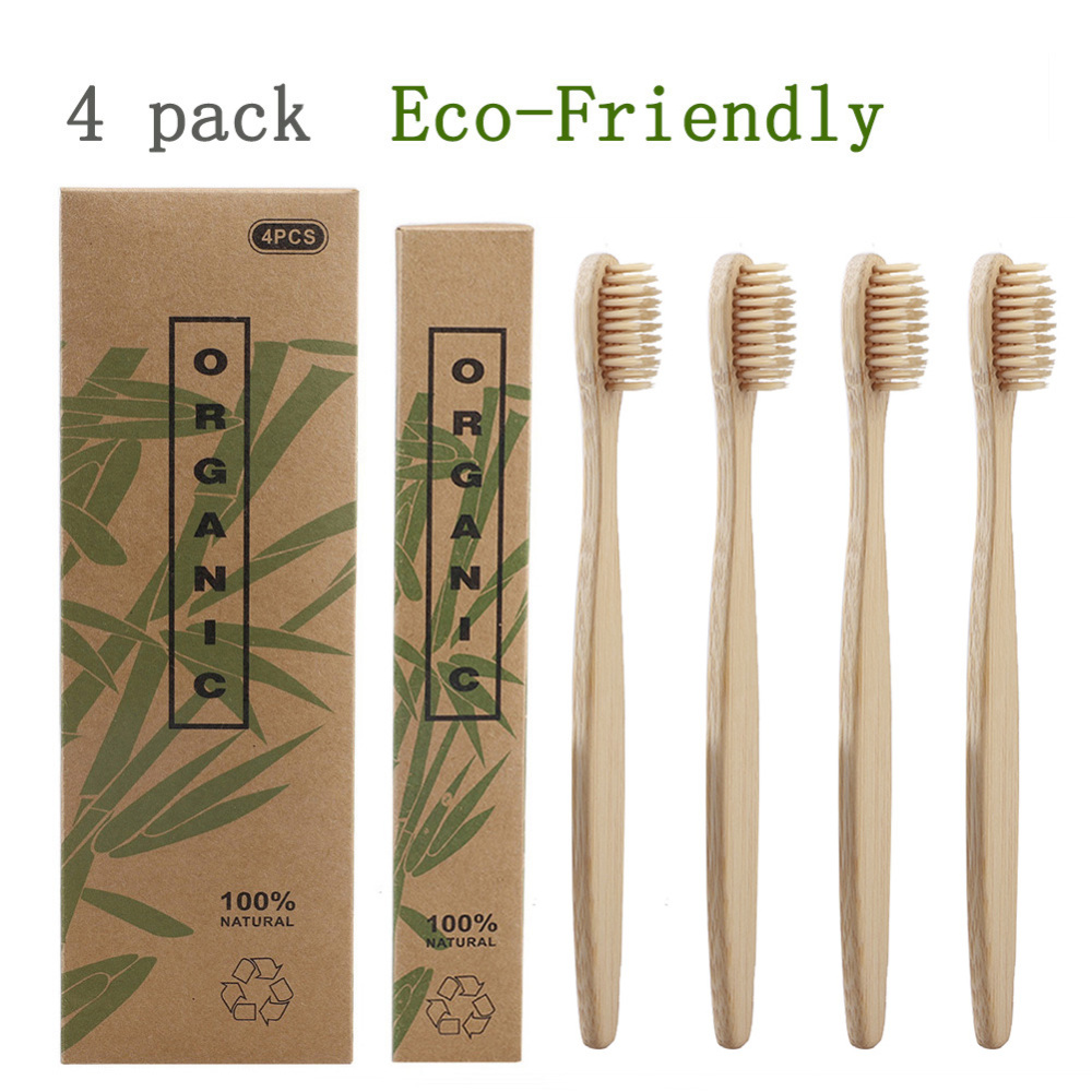 4pcs Natural Bamboo Handle Toothbrush Whitening Soft Bristles Bamboo Toothbrush Eco Friendly Oral Care