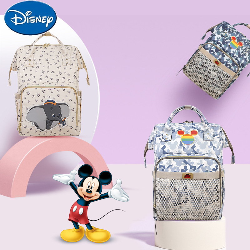 Disney Diaper Bag Backpack USB Bottle Insulation Bags Minnie Mickey Big Capacity Travel Oxford Feeding Baby Nappy Bag