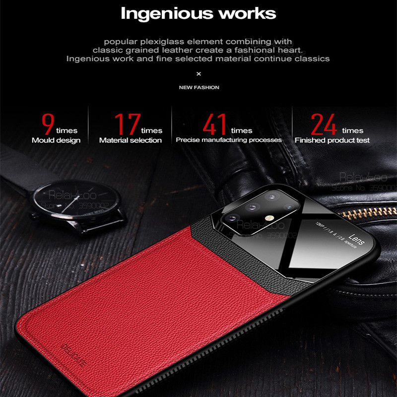 Luxury Leather case redmi note 9 case For xiaomi redmi note 9 pro nota 9s not 9 note9 s Bumper plexiglass Silicone phone cover