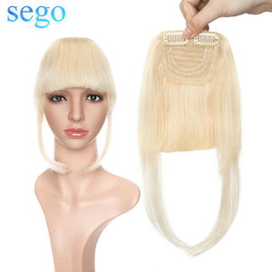 SEGO 23G 2 Clips In Straight Remy Human Hair Bangs Blunt Sweeping Side Bangs 100% Real Fringe Hair Pure Color 1Piece