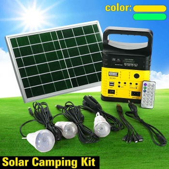1 Set 10W Portable Solar Generator Outdoor Power Mini DC10W Solar Panel 6V-9Ah Lead-acid Battery Charging LED Lighting System