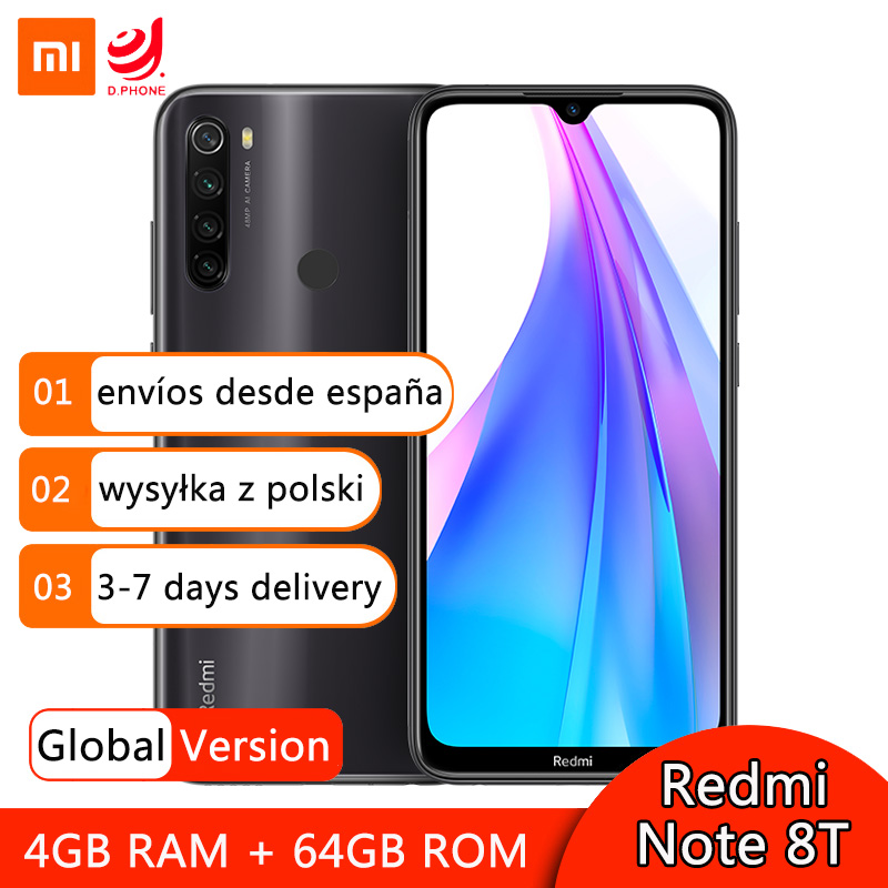 <font><b>Global</b></font> Version <font><b>Xiaomi</b></font> <font><b>Redmi</b></font> <font><b>Note</b></font> 8T <font><b>8</b></font> T <font><b>4GB</b></font> <font><b>64GB</b></font> Smartphone NFC Snapdragon 665 Octa Core 48MP Quad Rear Camera 6.3