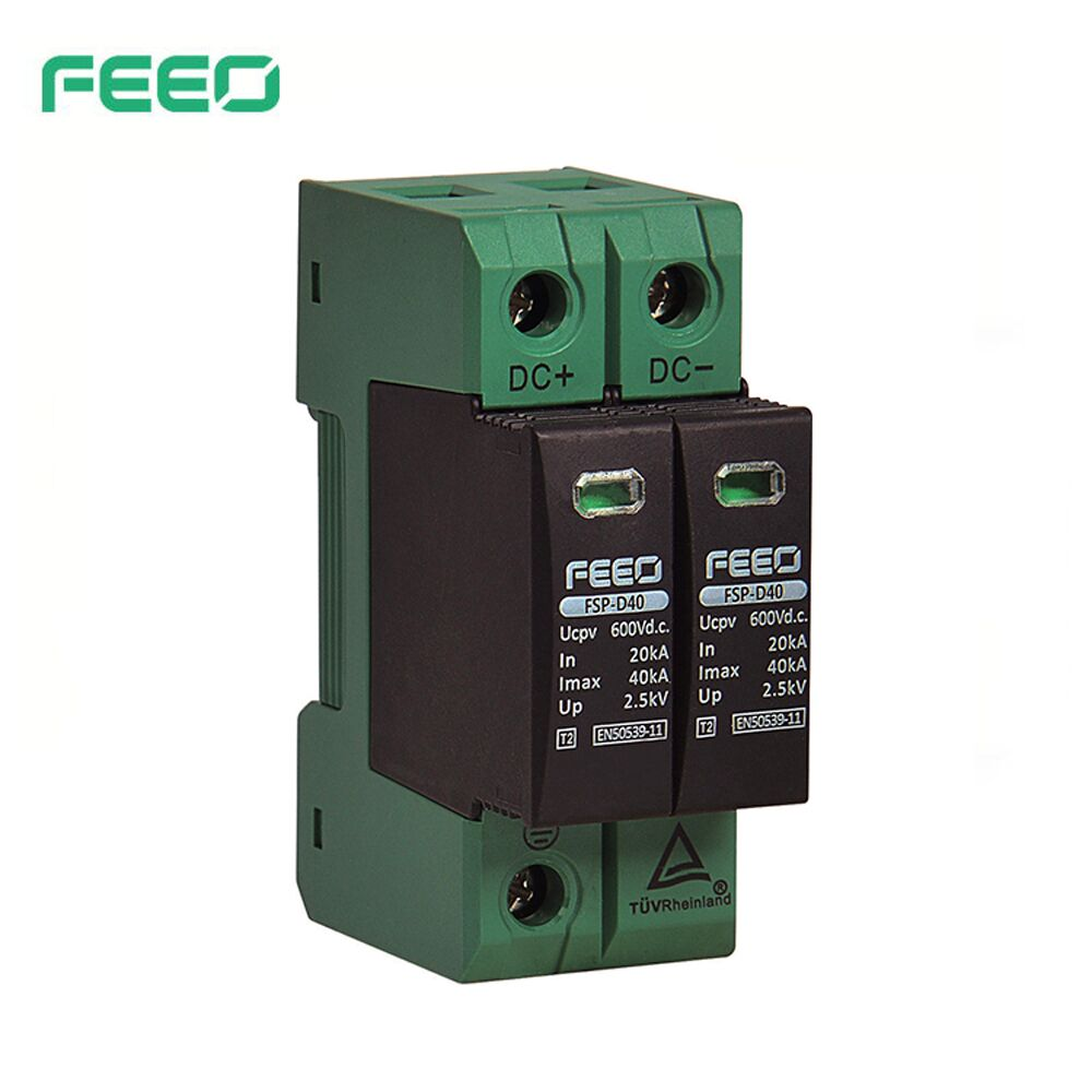 FEEO DC SPD  2P  600V 800V 20KA~40KA TUV & CE Din Rail Solar Outdoor Power Protection Protective Device Surge Protector Surge
