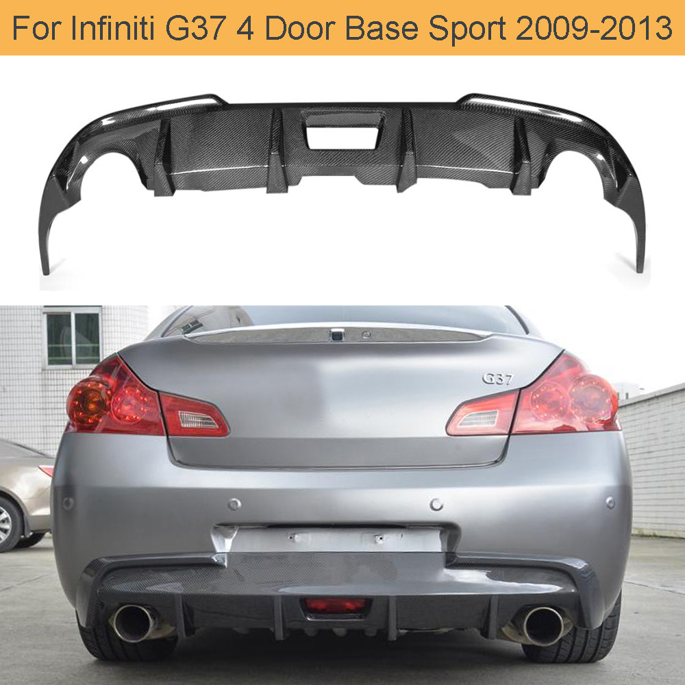 Carbon Fiber Car Rear Bumper Diffuser Lip for Infiniti G37 G37S Sedan Coupe 2009 - 2013 Base Standard Sport 4D 2D Diffuser image