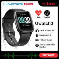 UMIDIGI Uwatch3 inteligentny zegarek mężczyźni kobiety 5ATM wodoodporna opaska monitorująca aktywność fizyczną opaska sportowa tętna monitorowanie snu dla android ios nowy