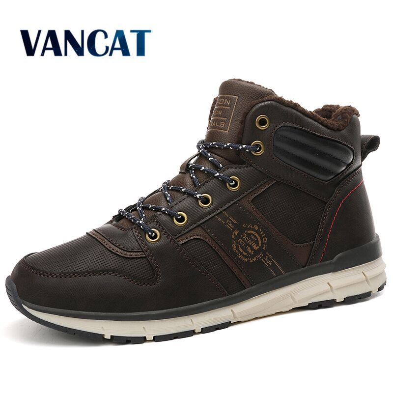 Vancat New Men Winter Fur Snow Boots Men Outdoor Sneakers Boots Warm Lace Up Fashion Men's Boots Waterproof Rubber Ankle Boots