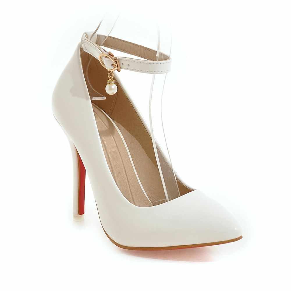 בתוספת גודל 48 אופנה סקסית גבוהה עקבים נשים משאבות נעליים מזדמנים קרסול רצועות מוצק מזדמן לבן אדום עירום עקבים חתונה נעלי אישה