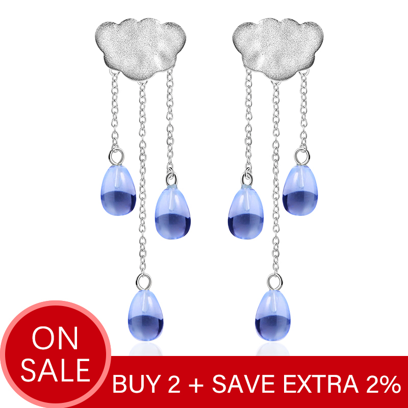 Lotus Fun Real 925 Sterling Silver Natural Crystal Gems Fine Jewelry Ethnic Cloud Long Tassel Drop Earrings for Women Brincos