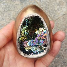 Beautiful Mineral Specimen Bismuth egg Crystal Iridescent Minerals Rocks Home furnishing articles 1pcs