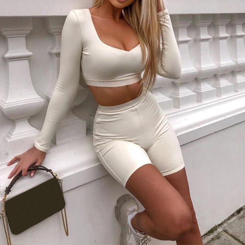Spring Solid Sports Set Women Bodycon Long Sleeve Fashion Casual Two Piece Set Female 2020 Crop Top And Biker Shorts Suit Ladies