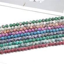 Dull Polonês Granito Natural Pedra Contas 4/6/8/10 milímetros Fosco Rodada Pedra Solta Beads Para fazer jóias Pulseira DIY Strand 15''