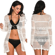 Women's Swimsuits Dress On Swimsuit Woman Beach Tunic Swim Suit Cardigan 2019 Sexy Hollow Swimming Letter Cotton