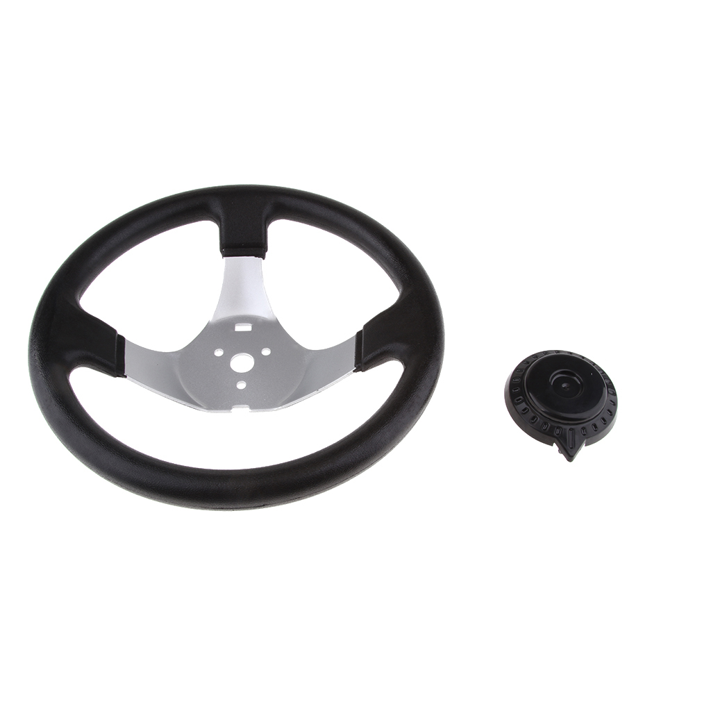 300mm 11.8 inch Steering Wheel with Cap 3 Spoke for Go-Karts 150 250cc