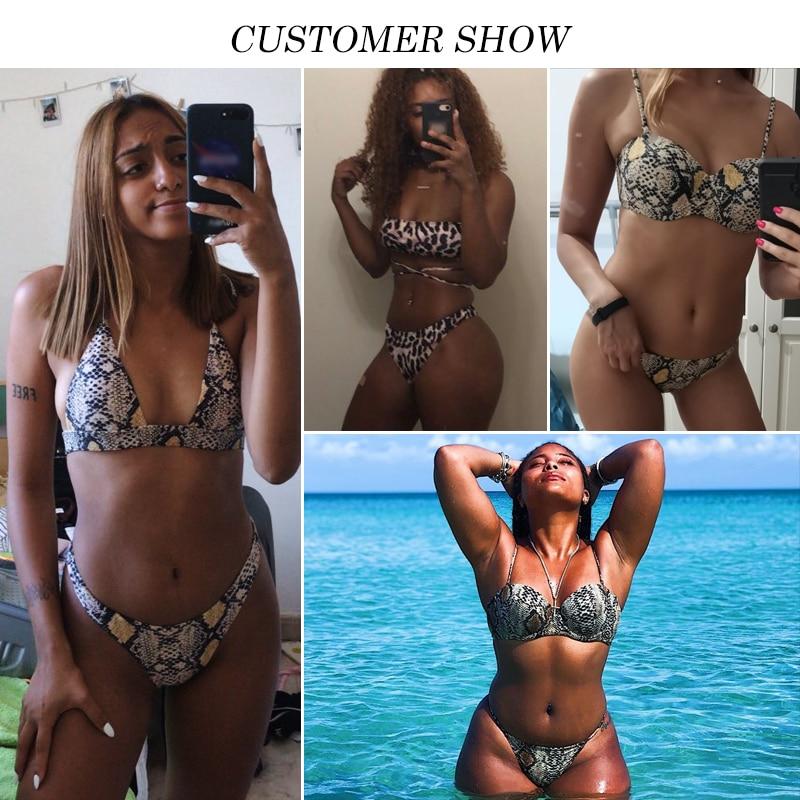 Hb2fb45f0b73149c48b7664ca1cb677faR Snake print bikini Push up swimsuit female bathing suit String thong Brazilian bikini 2019 High cut swimwear women Sexy biquini