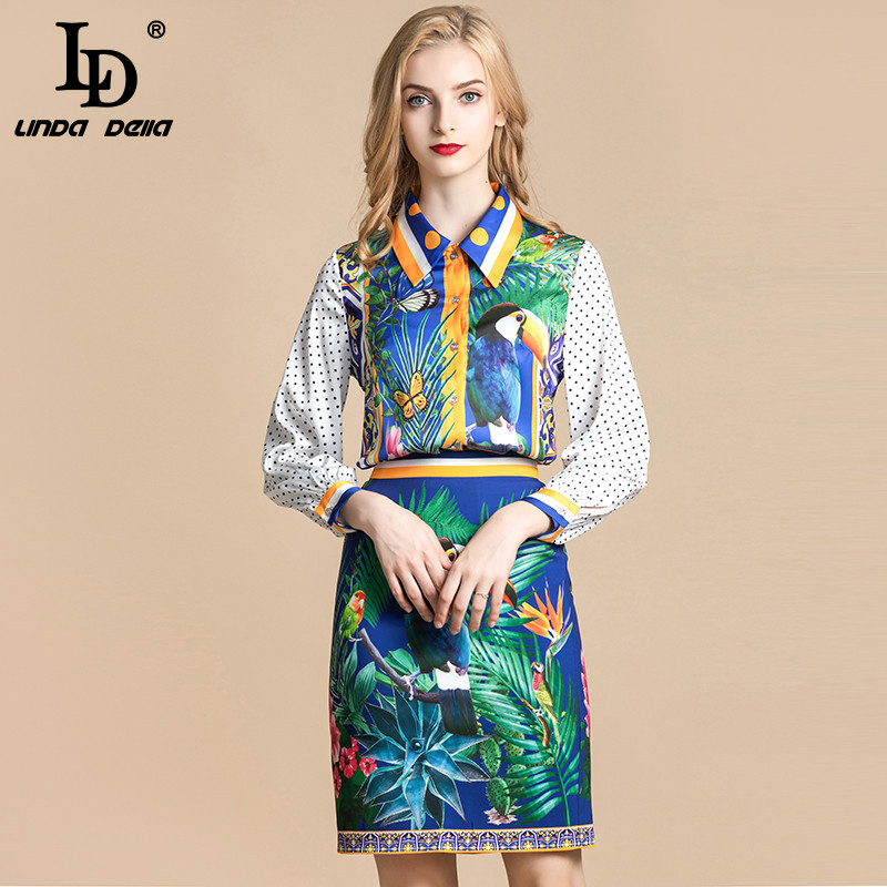 LD LINDA DELLA 2020 Spring Fashion Runway Vintage Skirt Suit Women's Animal Flower Print Blouses And Skirt Two Pieces Set Suits