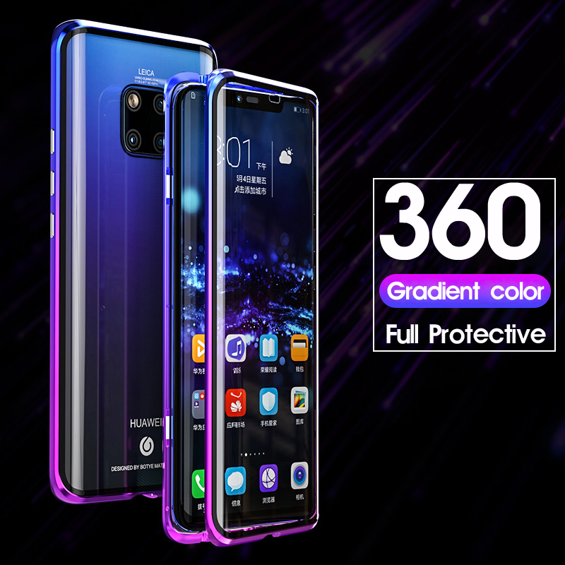 Magnetic 360 Full Case For Huawei Mate 20 Pro P30 Mate20 Metal Shell Front Back Tempered