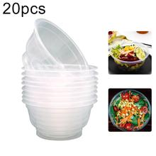 20Pcs 360ml Disposable Plastic Round Bowl Kitchen Salad Snacks Picnic Container easy to degrade Clear Lightweight Eco-friendly