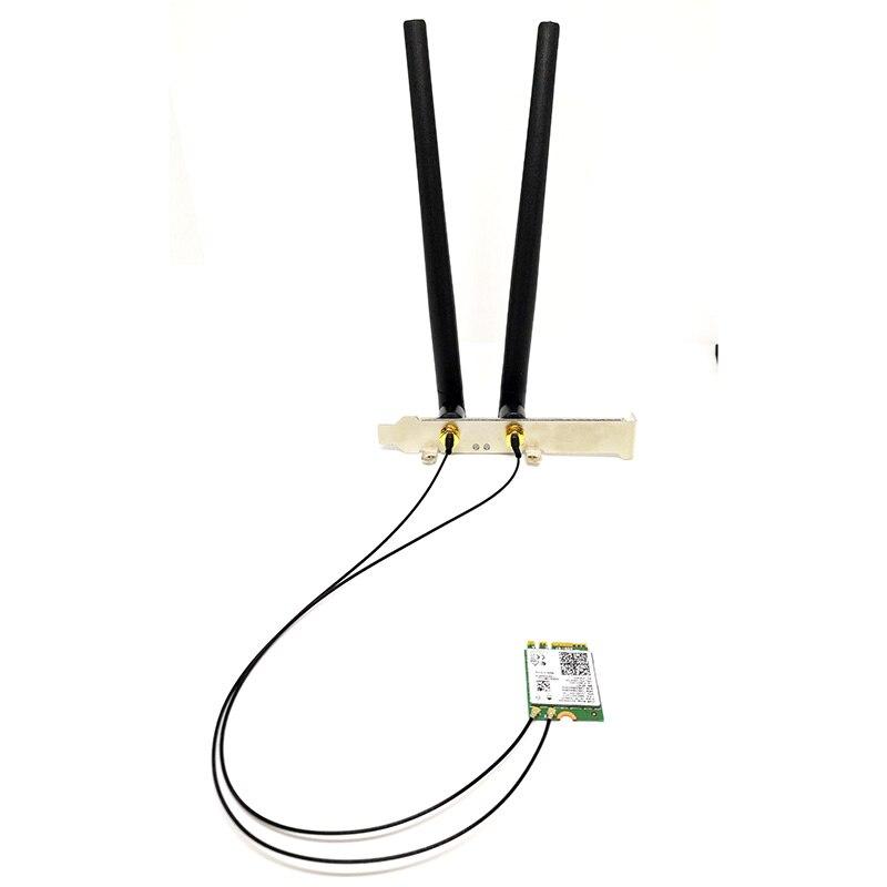 2 x 6dBi Dual Band M.2 IPEX MHF4 U.fl Cable to RP-SMA Wifi Antenna Set for Intel AX210 AX200 9560 8265 8260 7265 NGFF M.2 Card 4