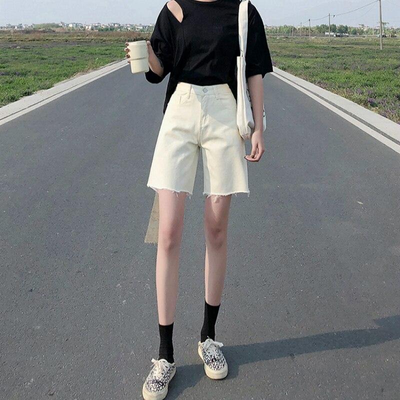 Apricot Ankle Length Jeans Women Plus Size High Waist Denim Jeans Straight Summer New Korean Knee Jeans Vintage Casual Blue