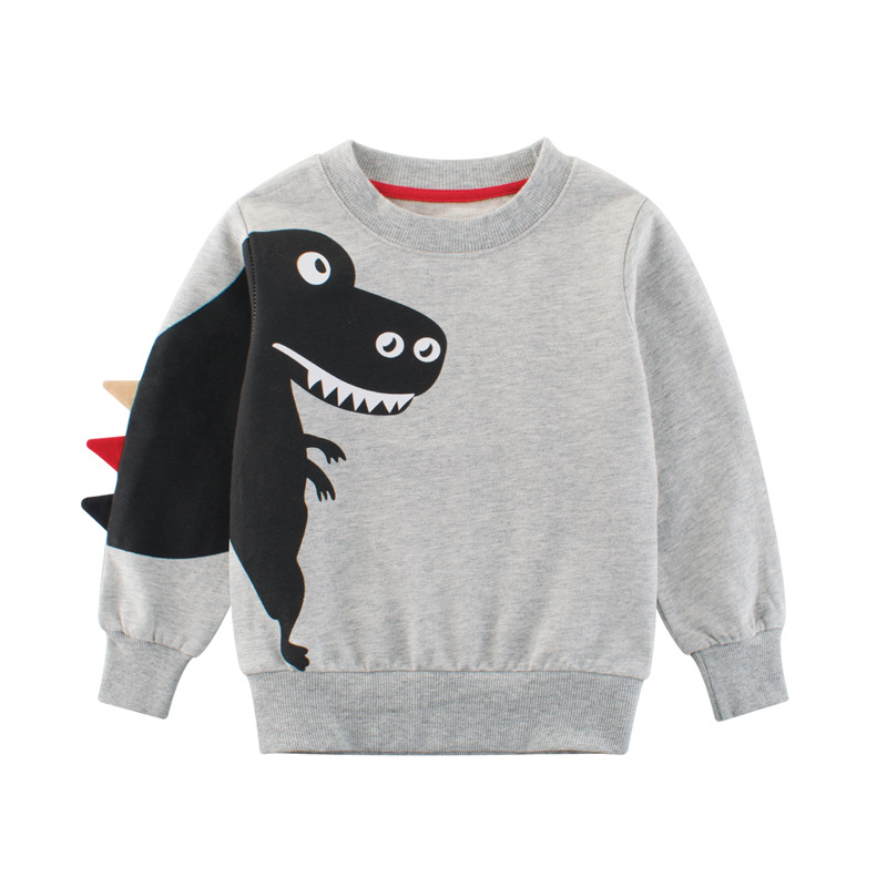 27kids 2-9Years Cartoon Dinosaur Children Boys Sweater Spring Autumn 2019 New Bahy Kids Boys Girls Clothes Chid Boys T Shirts 4