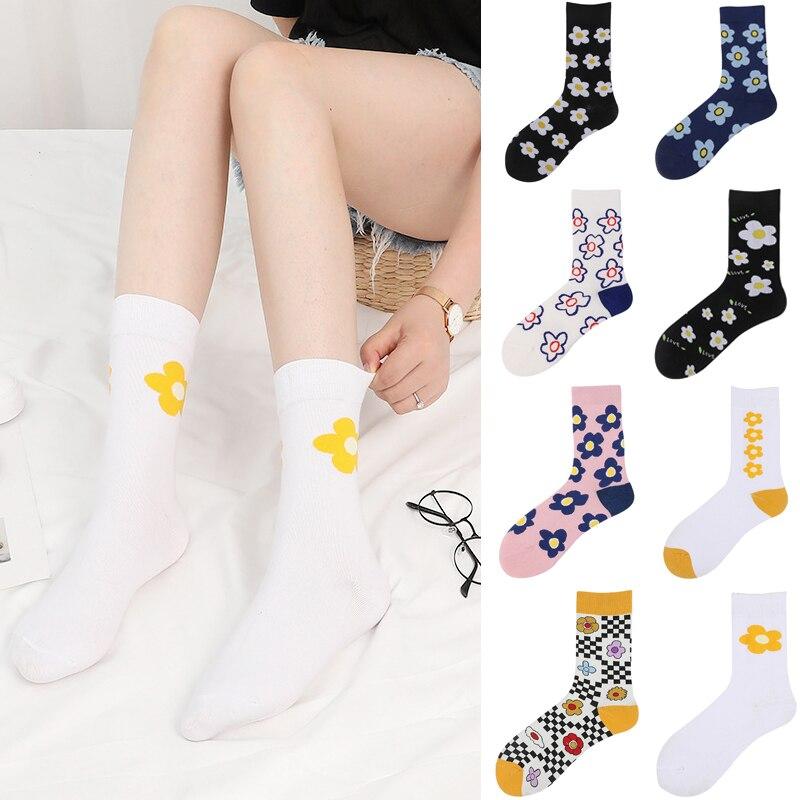 2019 New Arrived Colorful Flower Oil Pattern Art Socks Street Trend Happy Women Autumn Winter Socks Jacquard Creative