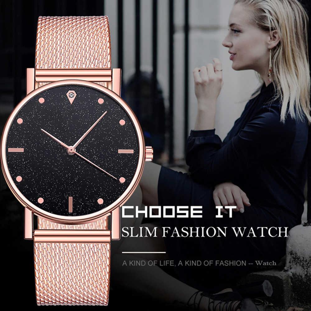 นาฬิกาผู้หญิงนาฬิกาสแตนเลสสตีลควอตซ์นาฬิกาข้อมือแฟชั่นหรูหราสุภาพสตรีGolden Rose GoldนาฬิกานาฬิกาAnalog