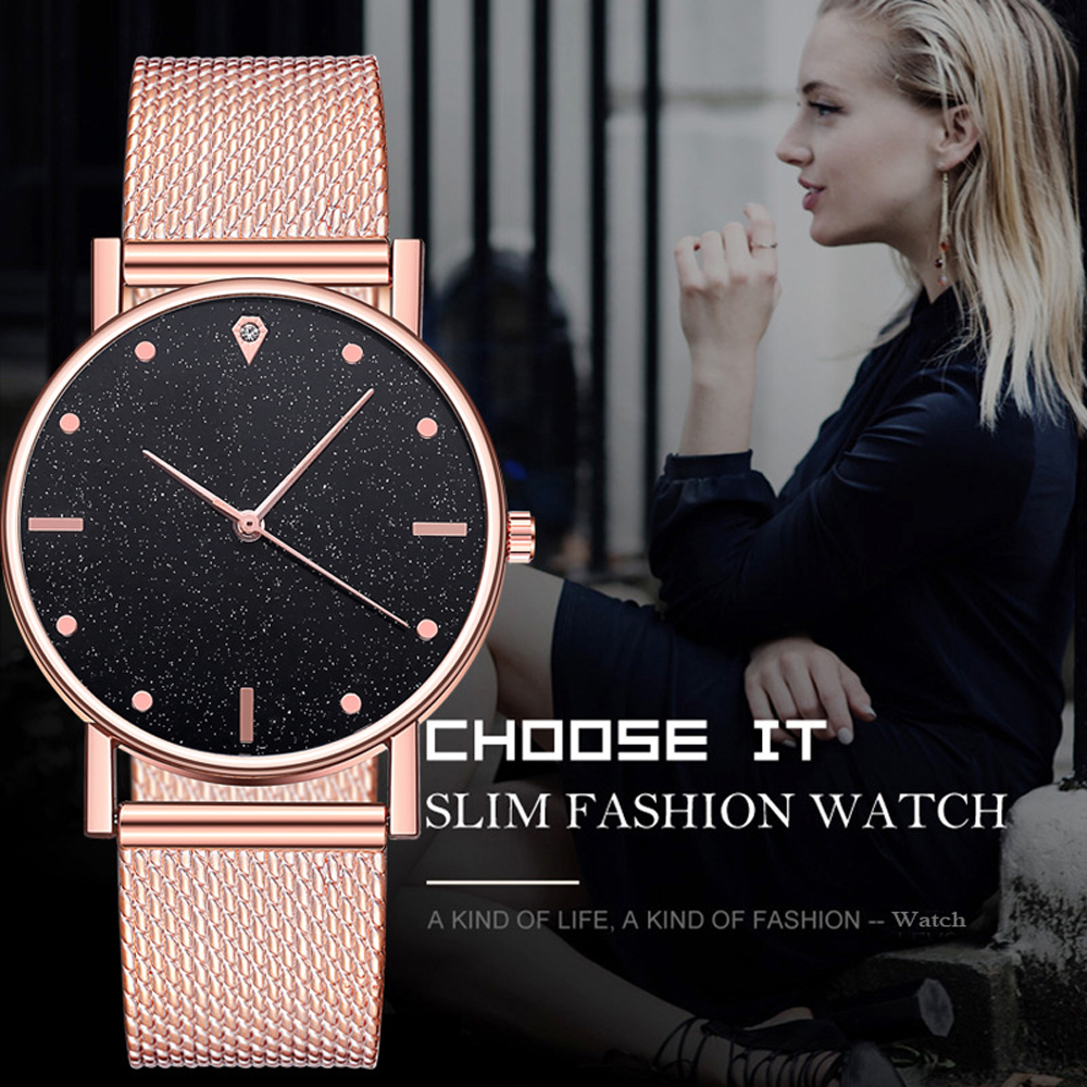Watch Women Dress Stainless Steel Band Analog Quartz Wristwatch Fashion Luxury Ladies Golden Rose Gold Watch Clock Analog(China)