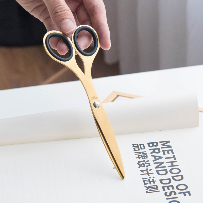 Fromthenon Creative Brass Stainless Steel Scissors Office Stationery Supplies Paper Scissors Nordic Danish Style Accessories