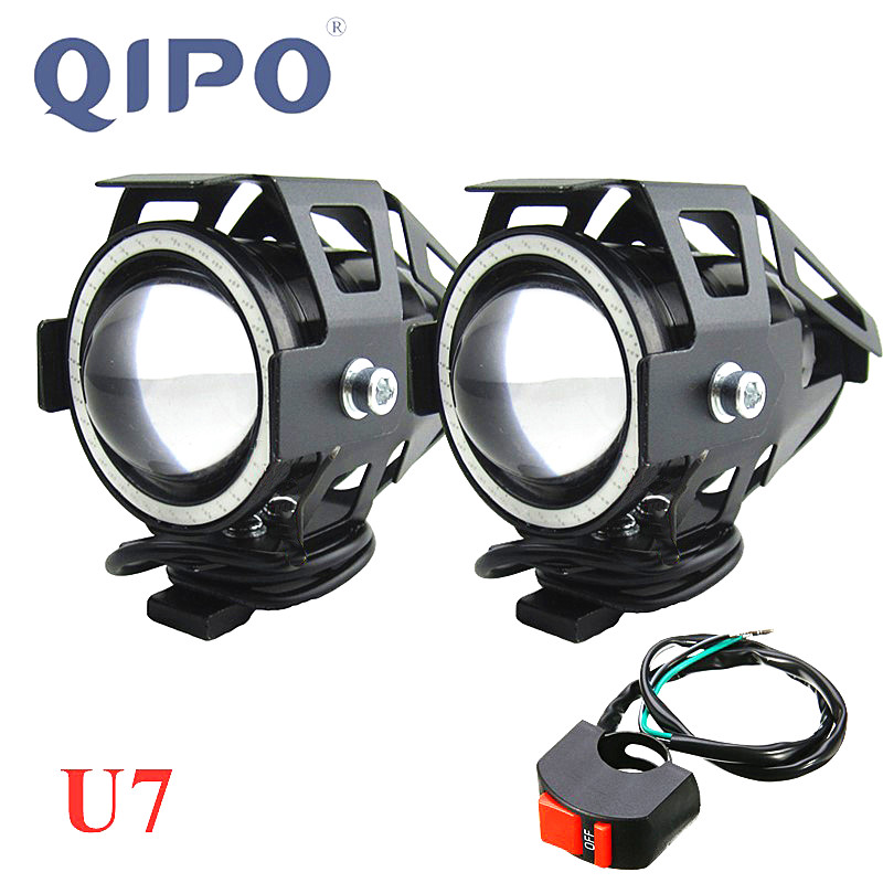 QIPO  Motorcycle Headlight Motorbike U7 12V LED Driving Fog Spot Head Light Moto Spotlights Shoot The Lamp Angel Eyes For Honda