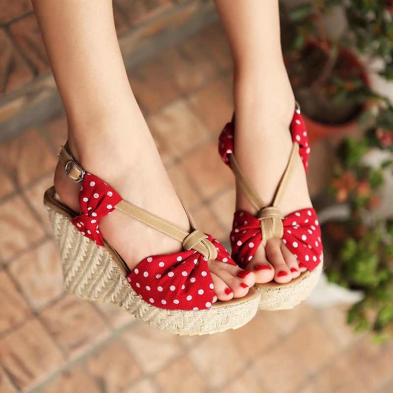Zomer Vrouwen Sandalen Gesp Bohemen Mode Vrouw Wig Schoenen Platform Hennep Stip Casual Dames Strand Schoenen Vrouwelijke Sandalen
