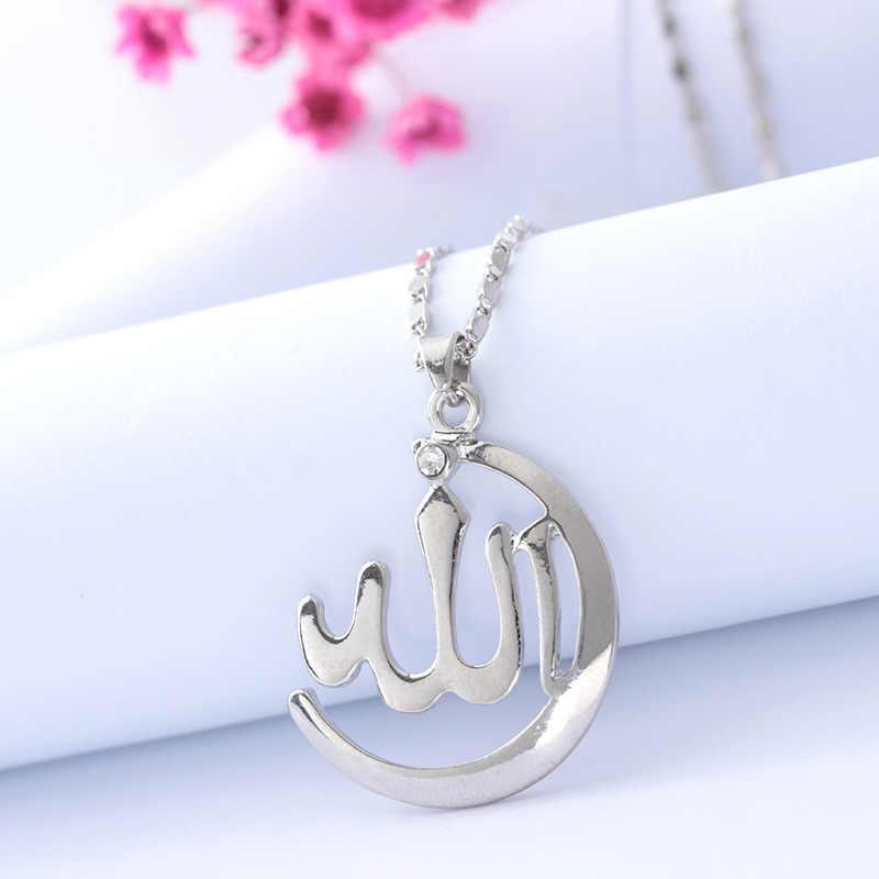 Prosty muzułmanin bóg naszyjnik złoty stop srebra Allah wisiorek naszyjnik z amuletem mozaika wisiorek z cyrkonią biżuteria kobiety mężczyźni moda prezent