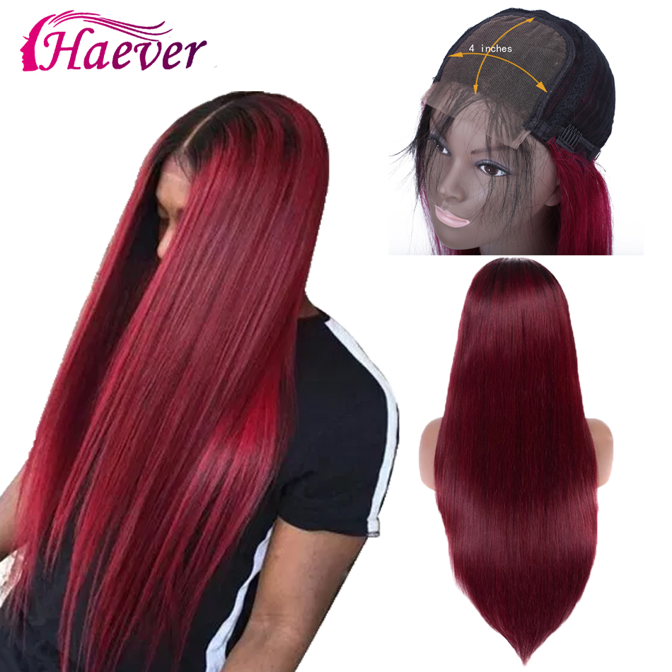 Haever 4x4 Lace Closure Wig 1b/99j Burgundy Ombre Human Hair Wigs For Women 150 Density Peruvian Straight Closure Wig Human Hair