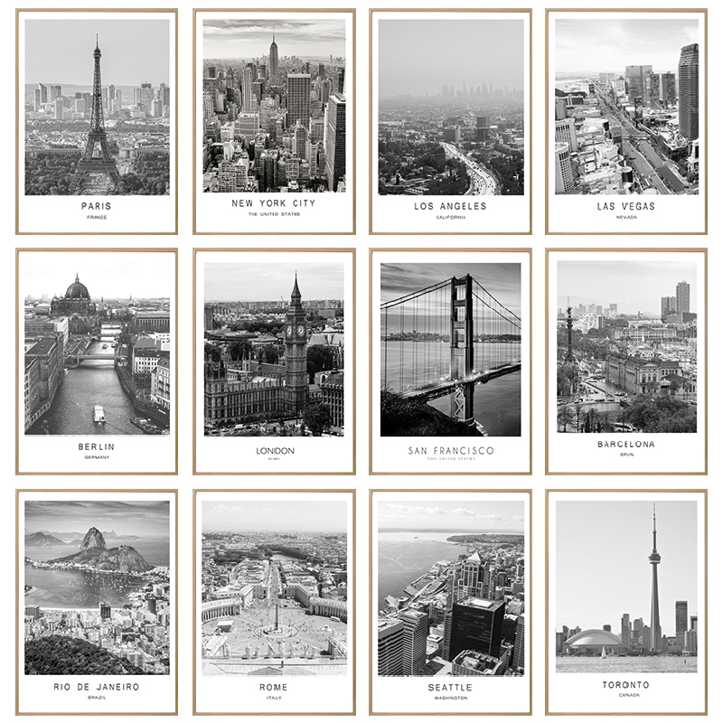 Pintura de lienzo blanco y negro paisaje de la ciudad de París Londres cartel de Nueva York impresiones Estilo nórdico pared arte foto decoración del hogar