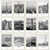 أسود أبيض قماش اللوحة العالم مدينة المشهد باريس لندن نيويورك المشارك يطبع الشمال نمط جدار صورة فنية ديكور المنزل
